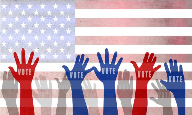 election: USA presidential elections day and voting concept with american flag on background.
