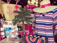 Boutique: a table display with clothes and accessories