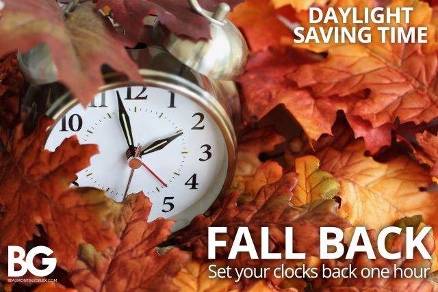 Daylight Savings: fall back with a clock and leaves