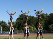 Group of cheerleader s doing a stunt